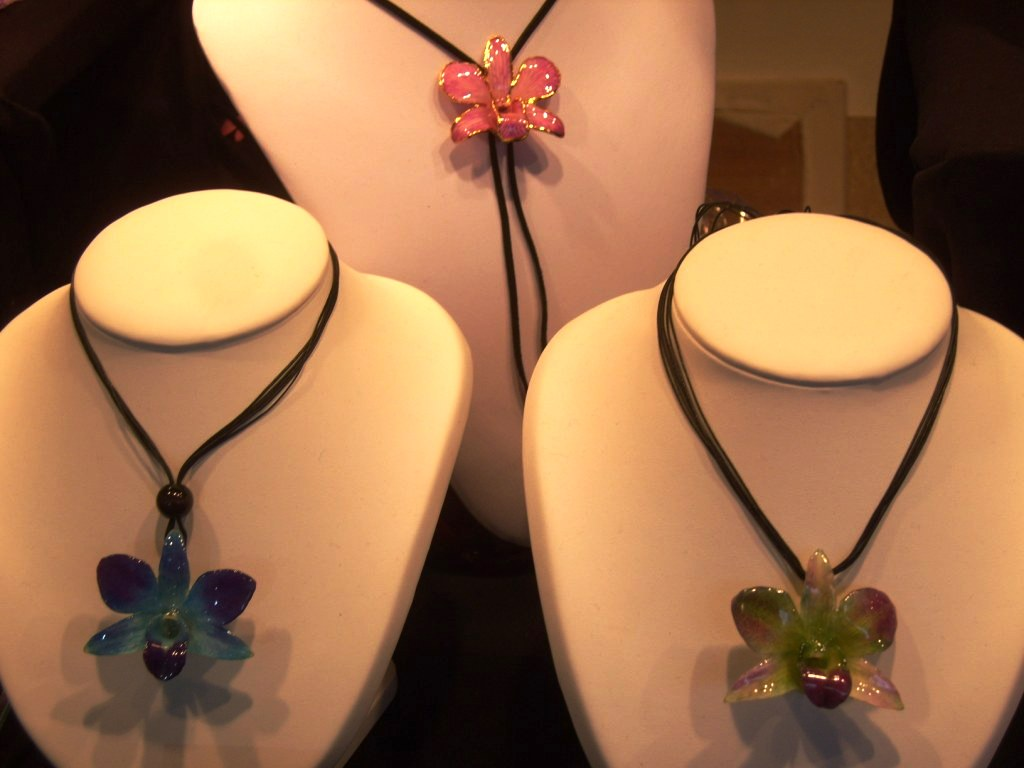 """Orchids turned into jewelry in Christmas Market in Montmartre Paris"""