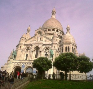 """Basilica of Sacre Coeur in Montmartre Paris"""