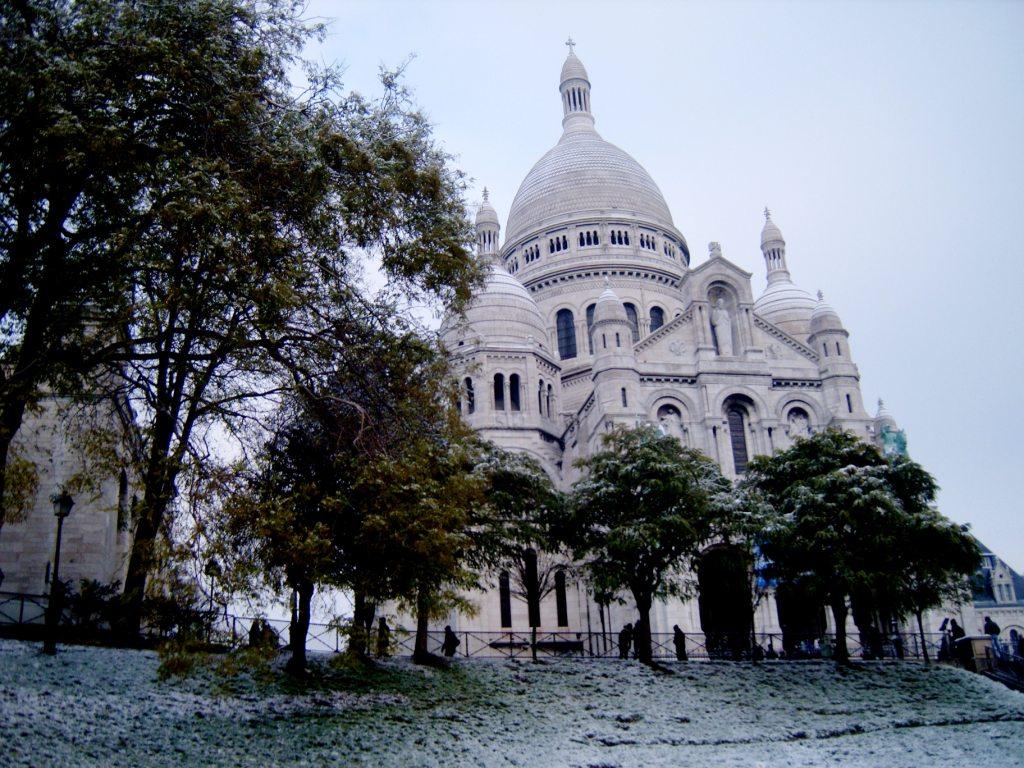 """Sacre Coeur in winter Paris Montmartre"""