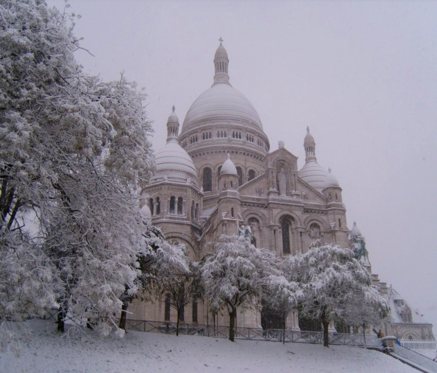 """Sacre Coeur in snow Montmartre Paris"""