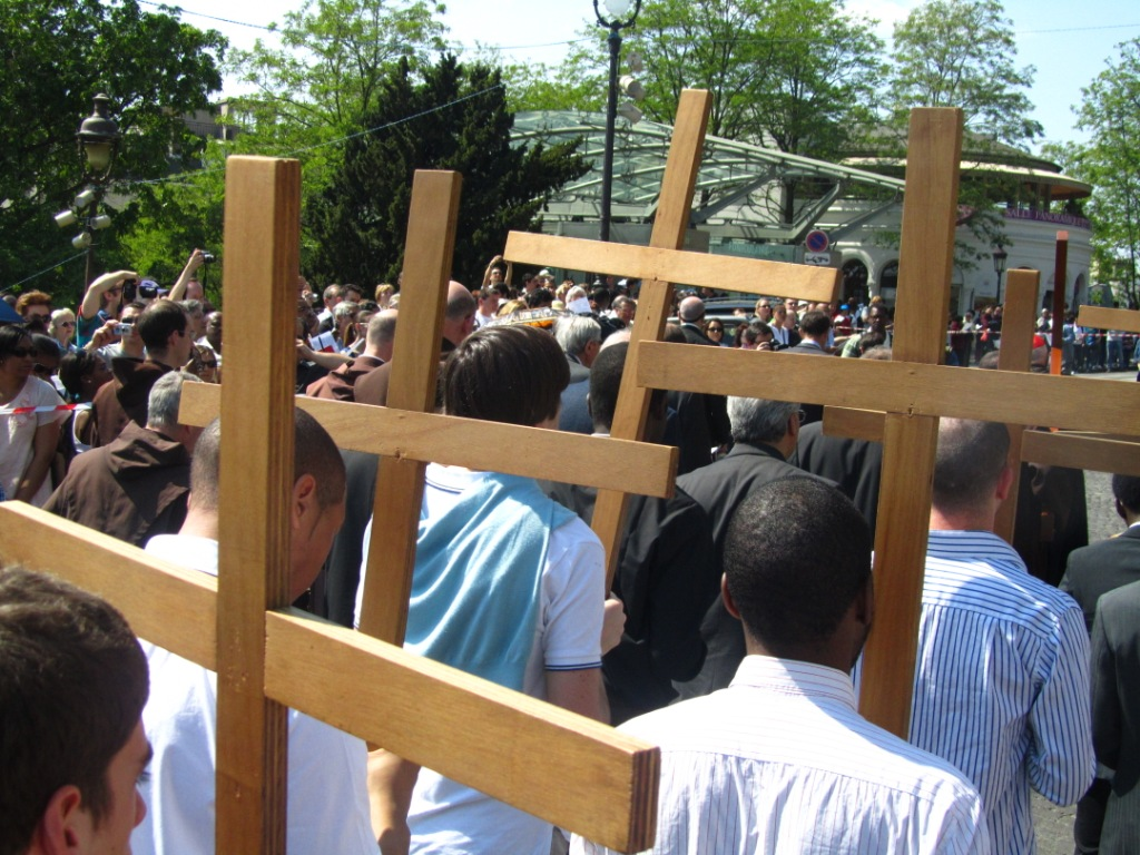 """Crosses carried in Way of the Cross procession in Montmartre led by Cardinal Vingt-Trois of Paris"""