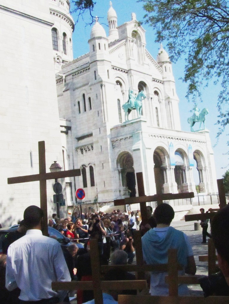"""Way of the Cross in Paris Montmartre ends in Basilica of Sacre Coeur"""