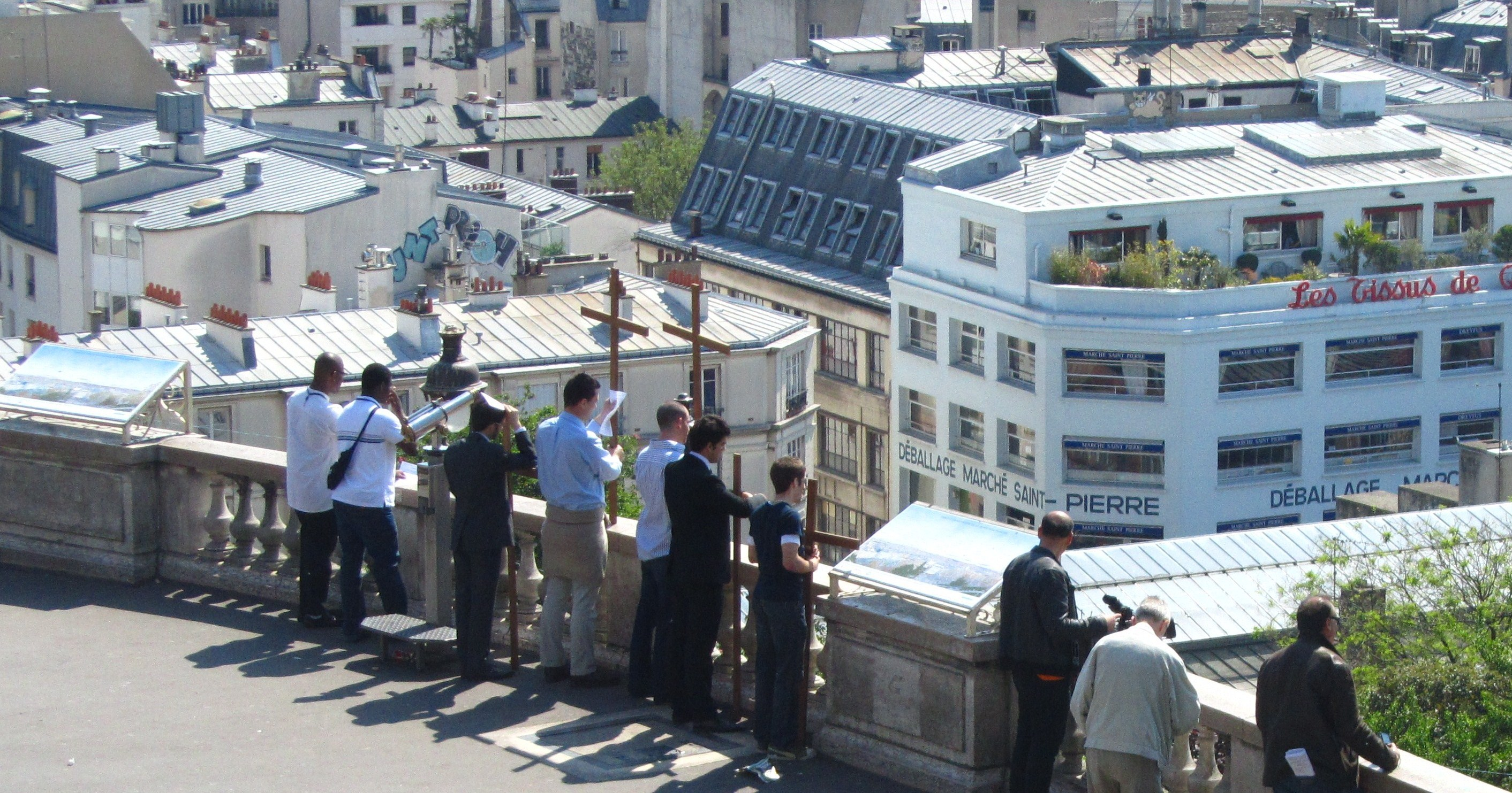 """""""Sacristans waiting at the top of Paris Montmartre for Way of the Cross to start"""""""