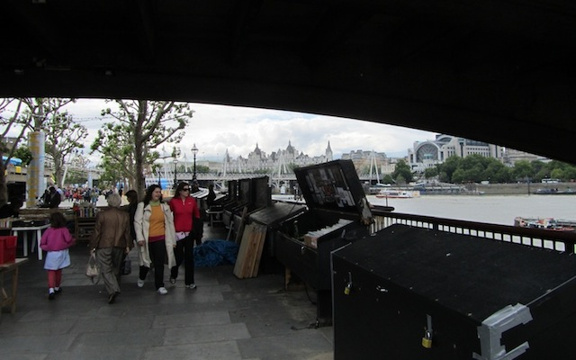 """""""Book stalls under  the Waterloo Bridge in London by the Thames"""""""