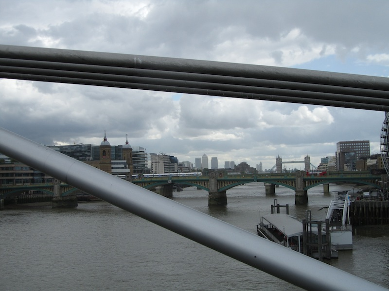 """""""Canary Wharf seen from Millennium Bridge on a visit in London"""""""