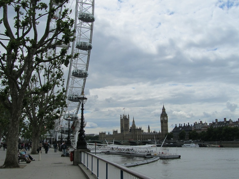 """""""London Eye looking into the House of Parliament in London from the Thames"""