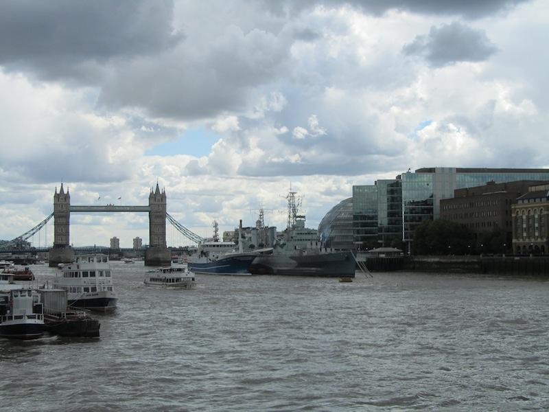 """The Tower Bridge in London seen from the Millennium Bridge"""