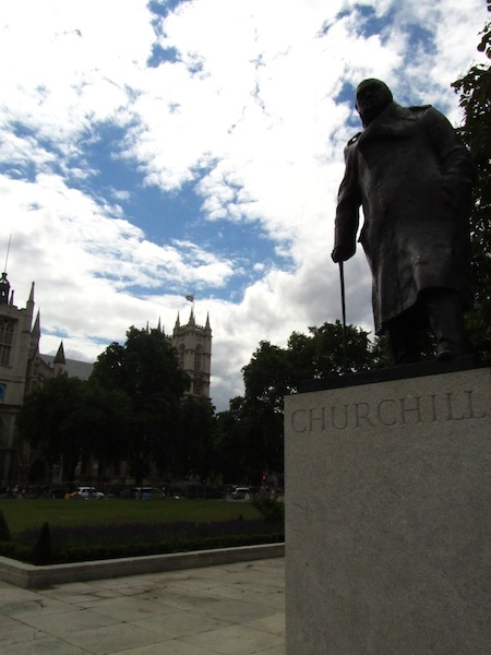 """""""Churchill statue in front of Westminster Abbey in London"""""""
