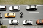 """Cars on the highway towards airport to fly to Montmartre Paris"""
